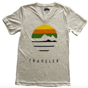 Traveler V-Neck Logo Tee - Oatmeal