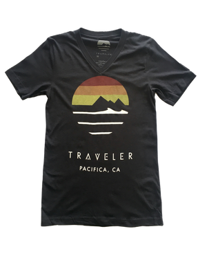 Traveler Logo V-Neck Tee - Heather Black