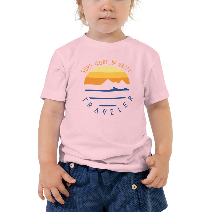 """Surf More Be Happy"" Traveler Toddler Tee"