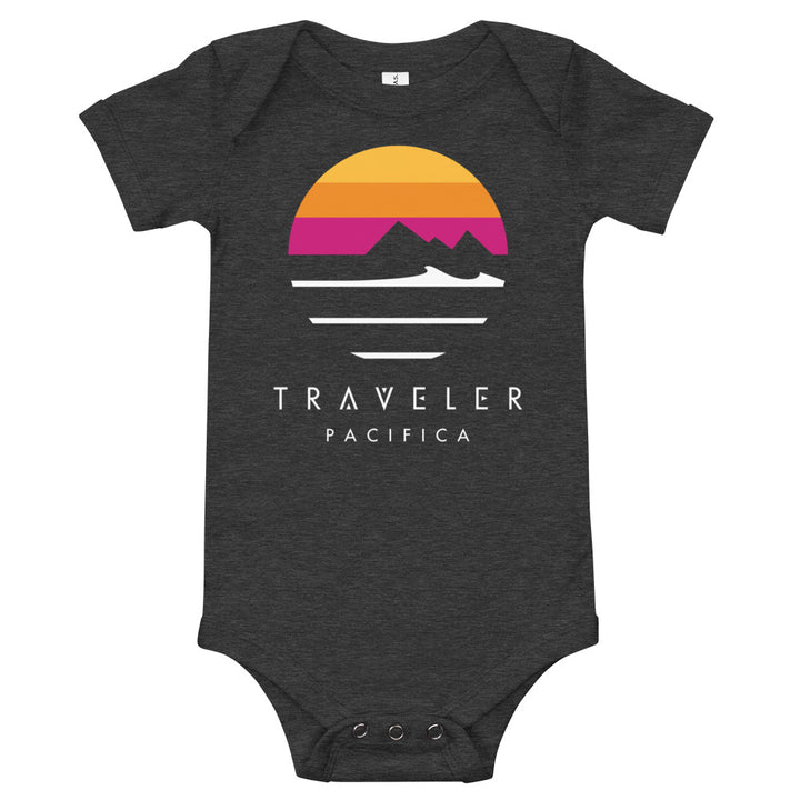 Traveler Pacifica Sunset Logo Baby Onesie