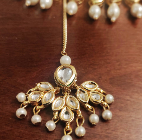 Kundan & Pearl Maang Tikka and Earring Set