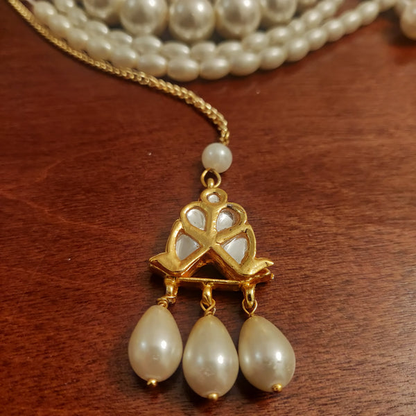 Simple Kundan & Pearl Maang tikka
