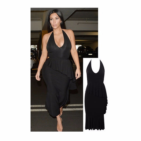 7e6fdba023 Black Halter Neck Peplum Frill Bodycon Dress - Celebrity Inspired by Kim  Kardashian