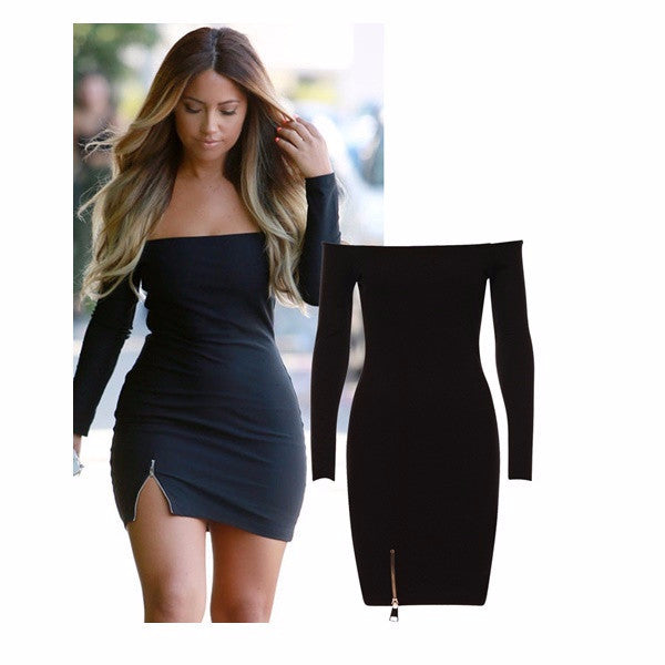 e1b95f343c Anya Bardot Style Off Shoulder Front Side Chunky Zip Detail Bodycon Dress - Celebrity  Inspired