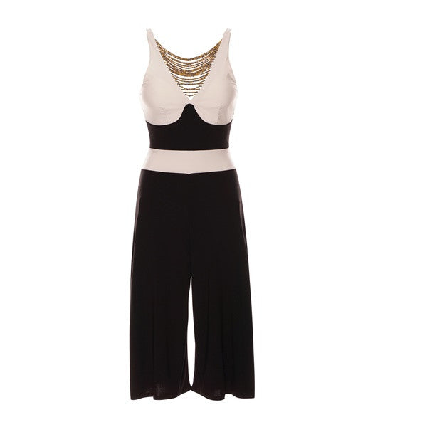 8db0b5ea2661 Alina Black White Contrast String Beaded Padded Bust Sleeveless Culotte  Jumpsuit