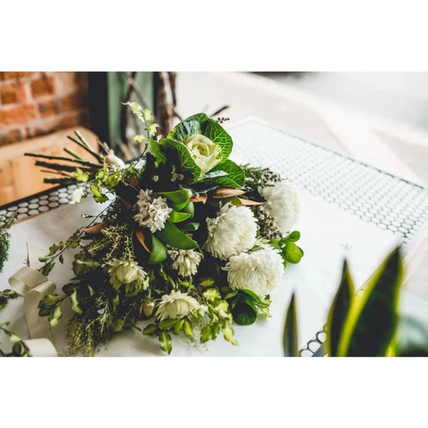 Crisp Whites and Green Bouquet