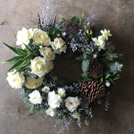 Fresh Floral Christmas Wreath in Whites and Silvers