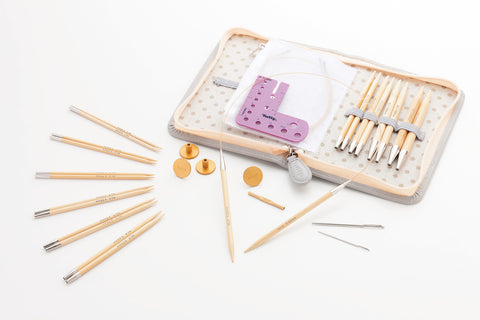 CarryC Long Interchangeable Bamboo Knitting Needle Set
