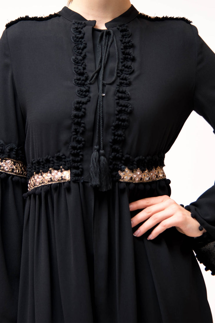 Open Black Peplum Tunic