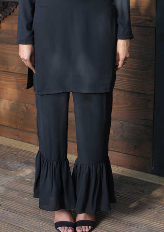 Black Frill Bottom Trouser
