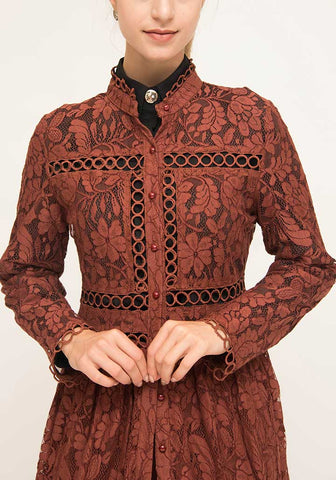 Brick Red Lace and Trim Kimono