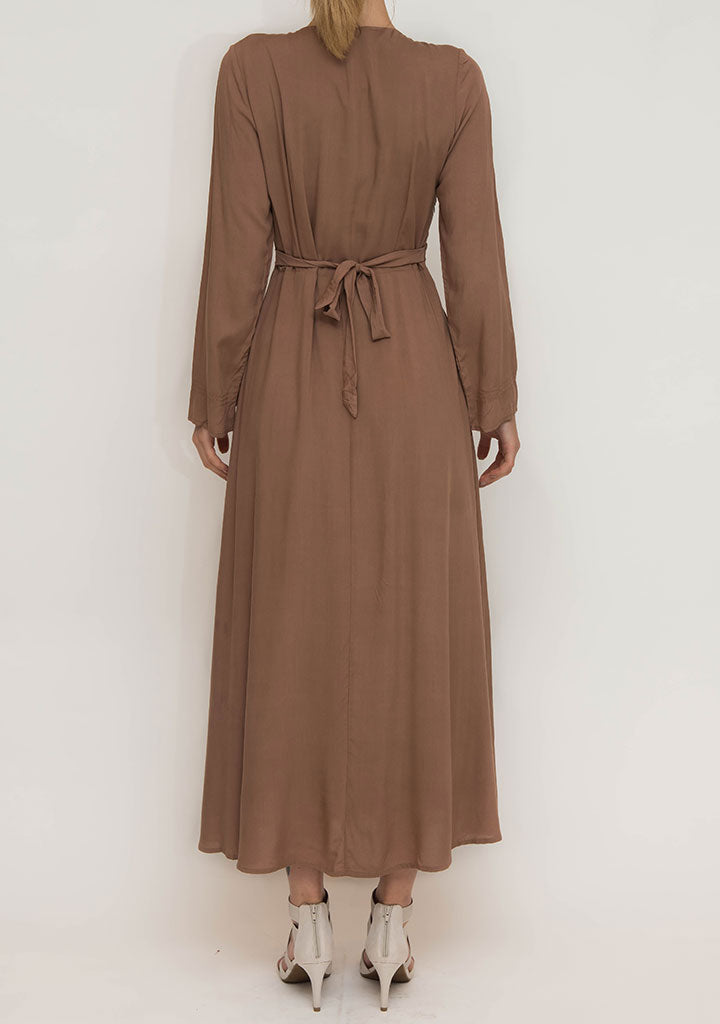 Brown Cotton Abaya Dress