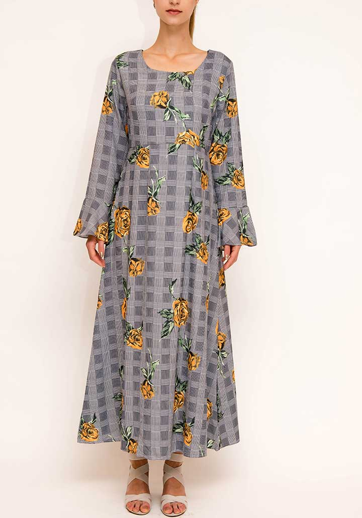 Glen Plaid Yellow flower Abaya Dress