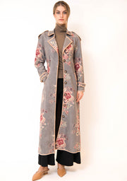 Floral Fleece buttoned Trench overcoat