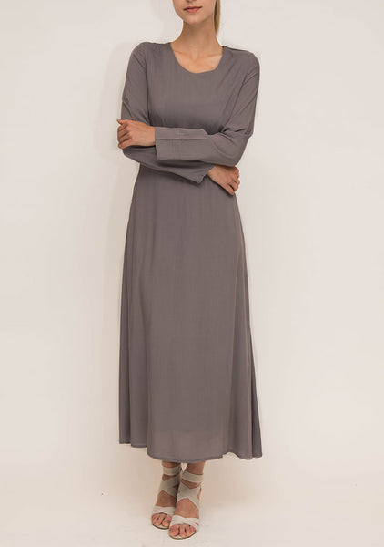 Grey Cotton Abaya Dress
