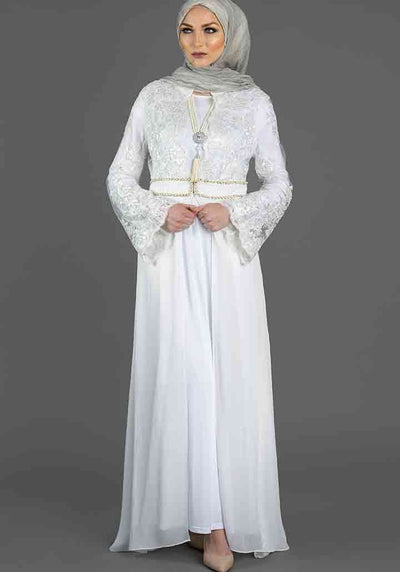 White Overlay Embroidered Abaya