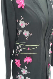 Black 3D Flower open abaya