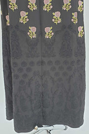 Black rose embroidered open abaya