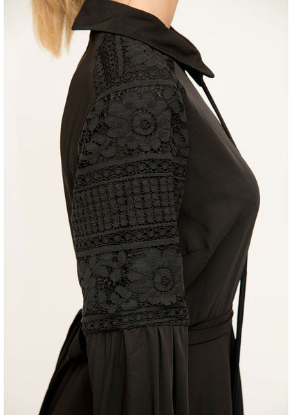Black Dress with Lace Detailed Sleeves