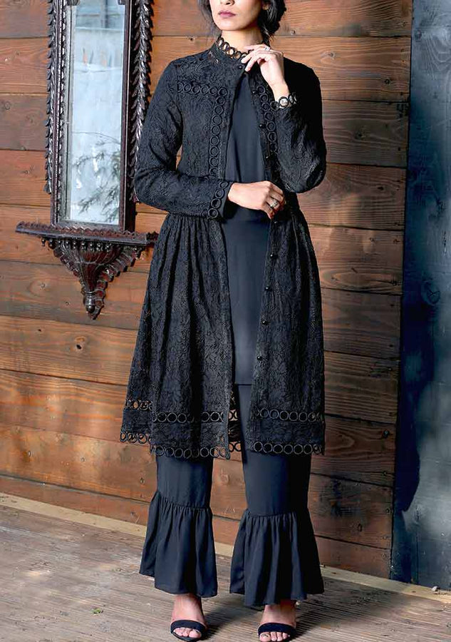 Black Lace and Trim Tunic