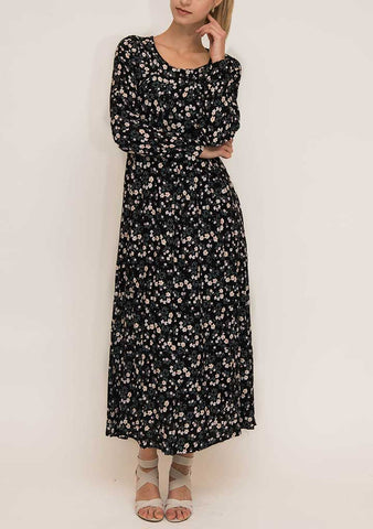 Black Printed Cotton Abaya