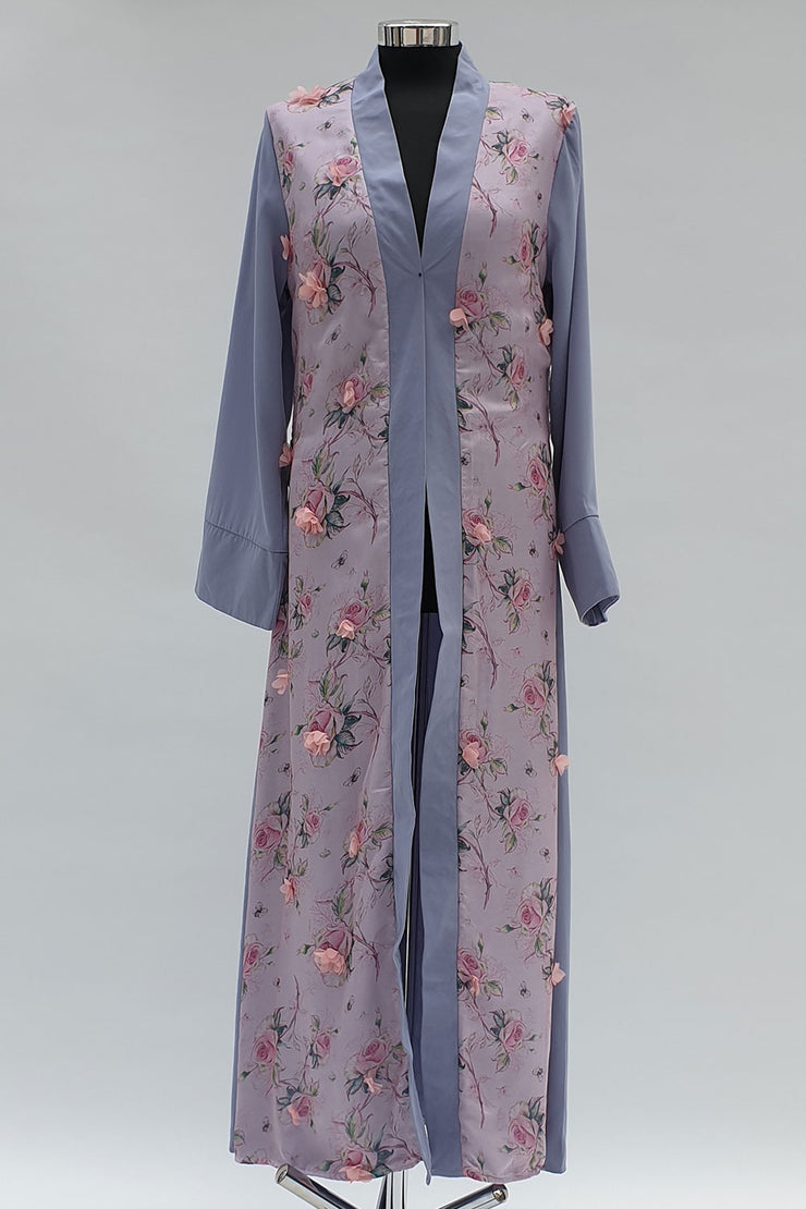 Blue 3D Flower open abaya