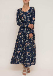 Blue Printed Cotton Abaya