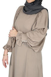 Beige Abaya with Butterfly Sleeves