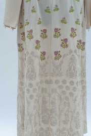 Stone Cream rose embroidered open abaya
