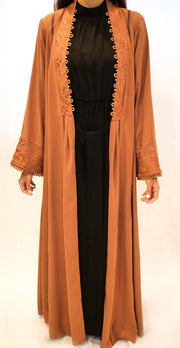 Brick red embroidered open abaya