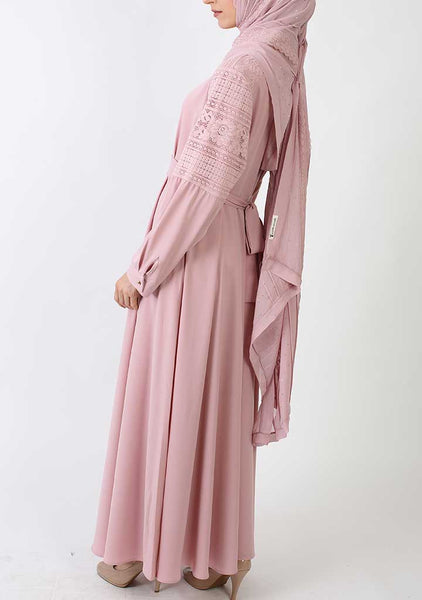 Pink Dress with Lace Sleeves