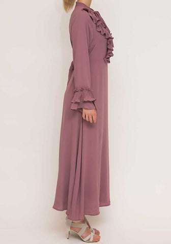 A-Line ruffle dusty pink dress