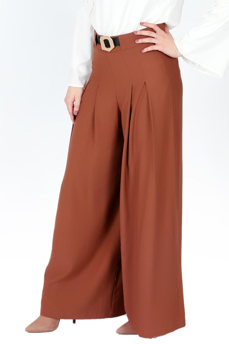 Rust Box Pleated Palazzo Pants