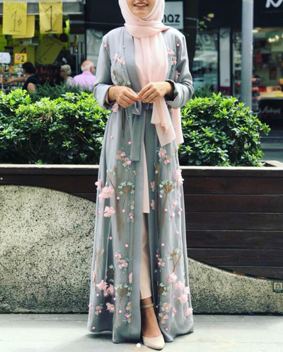 Grey 3D Flower open abaya