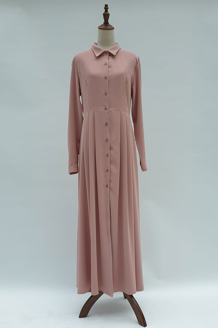 Pink front button Abaya