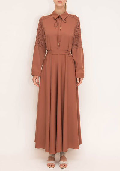 Brick Red Dress with Lace Detailed Sleeves