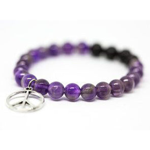 Amethyst Gemstone Bracelet with Peace