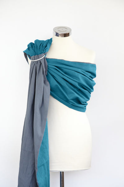 Ocean Teal and Mountain Grey Reversible Ring Sling