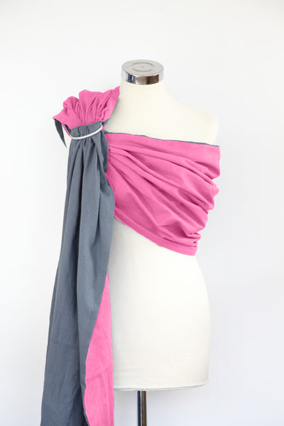 Rose Pink and Mountain Grey Reversible Ring Sling