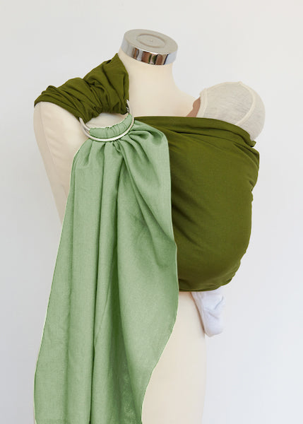 Morning Meadow and Olive Reversible Ring Sling