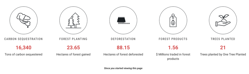Image from One Tree Planted website showing positive effects on climate change from planting trees