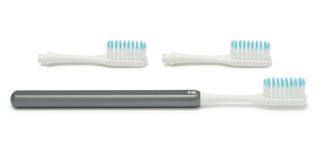 Slate grey Grin Toothbrush – the eco friendly toothbrush with a metal handle and replacement brush heads