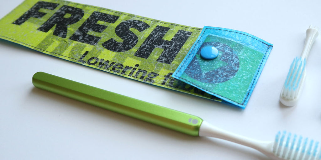 Grin Toothbrush Upcycled Travel Case with Lime Grin Toothbrush
