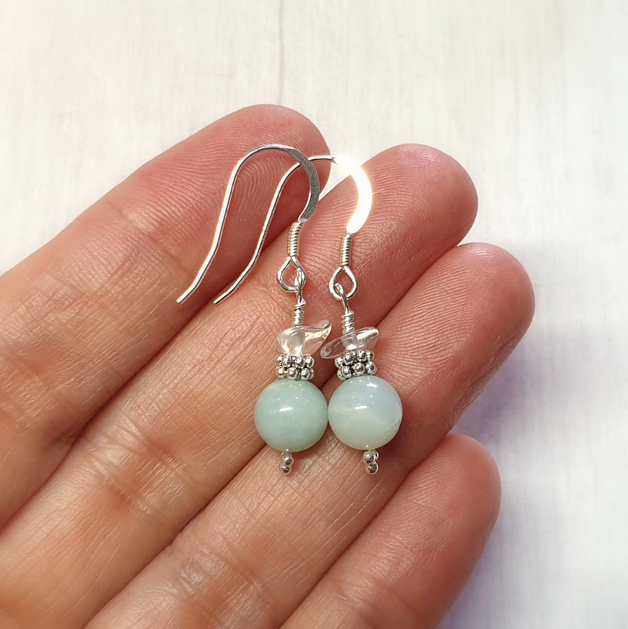 Everyday wear amazonite gemstone earrings.