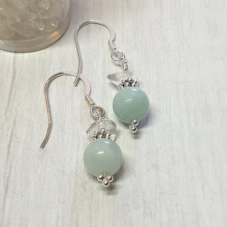 Sterling silver and amazonite gemstone earrings.