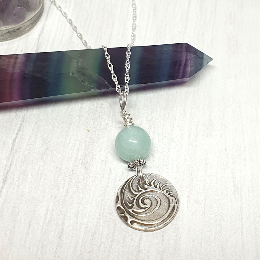 Sterling and amazonite charm necklace.