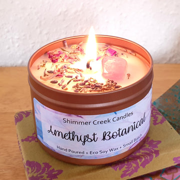 Amethyst botanical candle in rose gold tin.