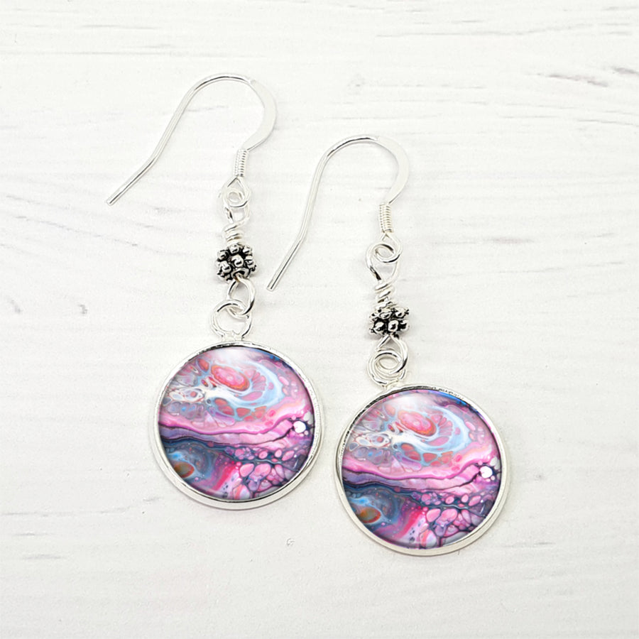Purple art earrings with sterling earwires.