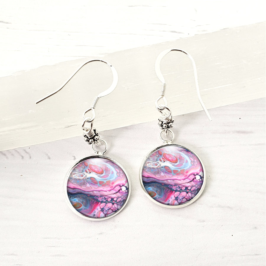 Arty purple swirl earrings with sterling earwires.