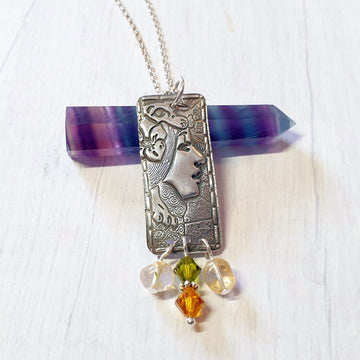 Autumn goddess necklace with citrine gemstones.